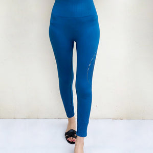 Sapphire blue seamless compression tights