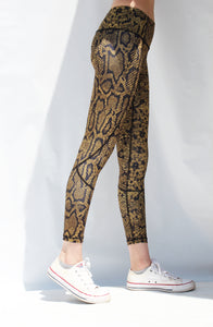 Snake print high-waisted tights