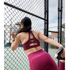 Oxblood compression sports bra