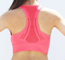 Load image into Gallery viewer, Coral compression sports bra