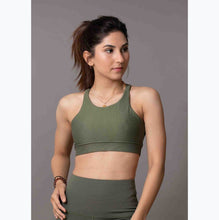 Load image into Gallery viewer, Olive green sports bra
