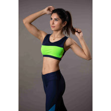 Load image into Gallery viewer, Blue green high support sports bra