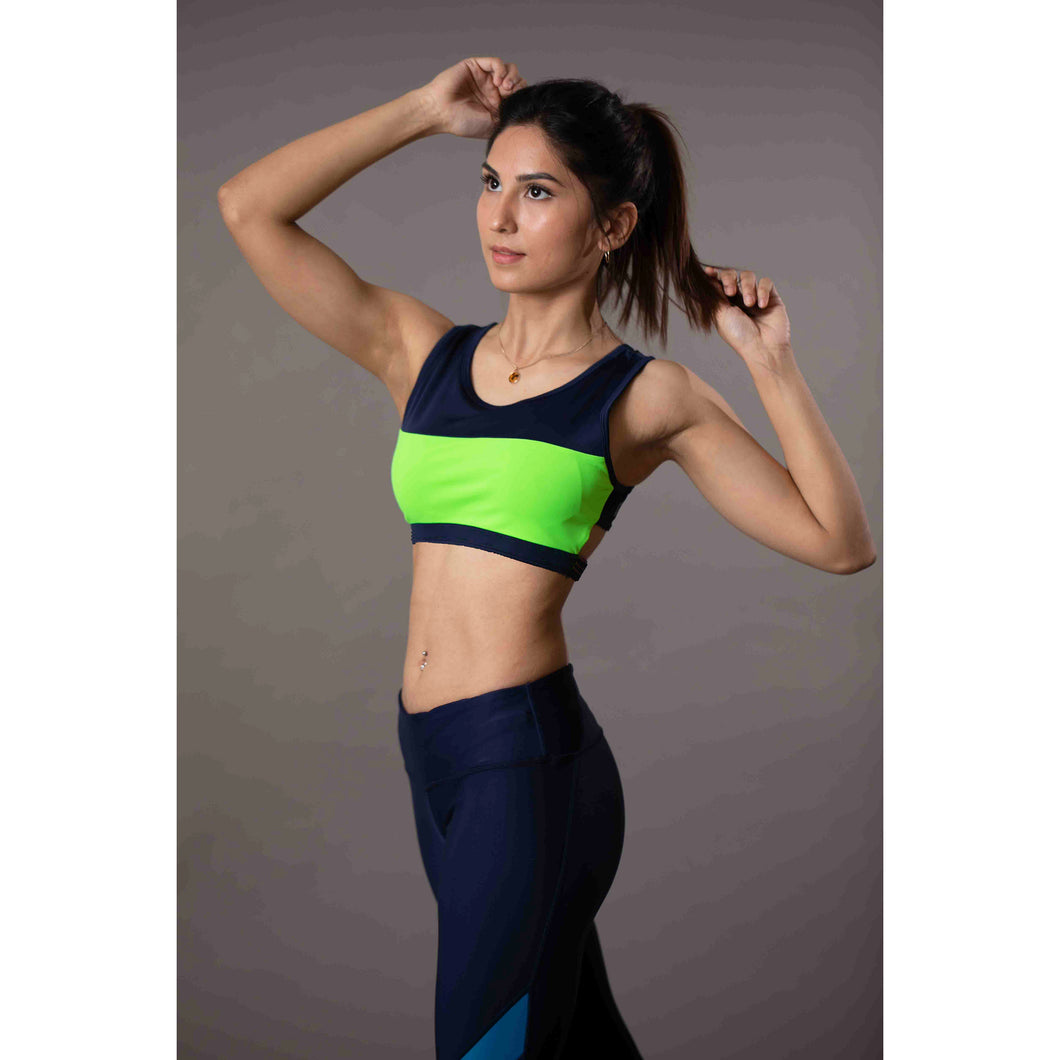 Blue green high support sports bra