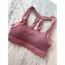 Load image into Gallery viewer, Tea pink compression sports bra