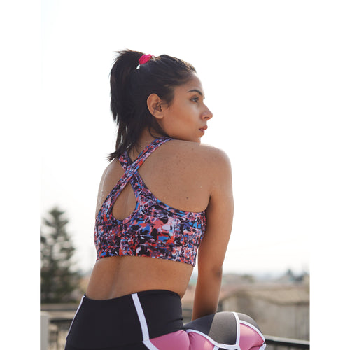 Paint splatter sports bra