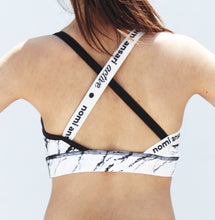 Load image into Gallery viewer, White marble print sports bra