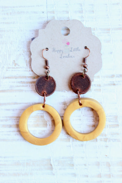 Leather + Clay Hoop Earrings