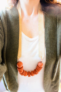Tan and Terracotta Clay Beaded Necklace