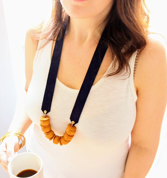 Navy and Gold Clay Beaded Necklace