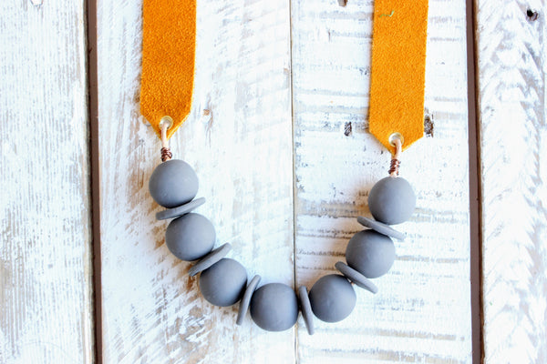 Mustard and Gray Clay Beaded Necklace