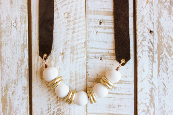 Mocha and White Clay Beaded Necklace