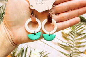Clay Circle and Half Moon Earrings