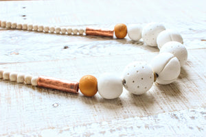 White, Copper and Gold Clay Beaded Necklace