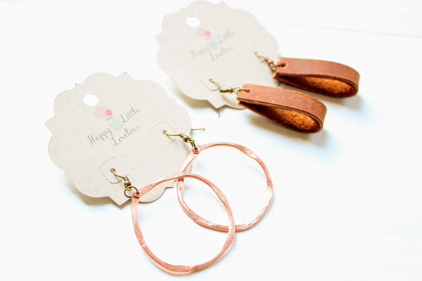 Copper and Leather Earrings Set