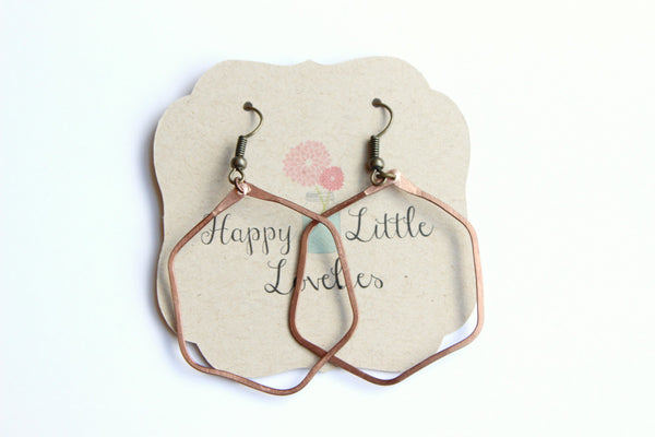 Copper hexagon hoop earrings