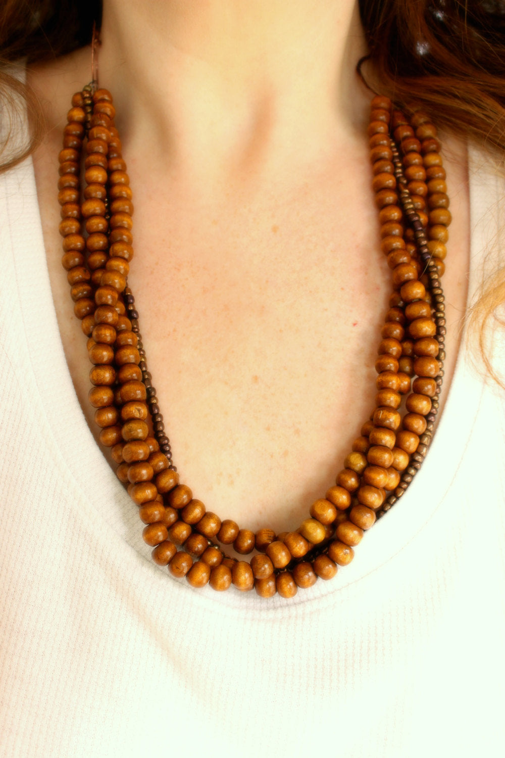 Wood Beaded Statement Necklace
