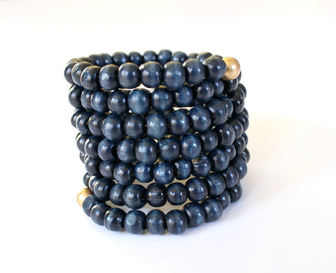 Navy Wood Beaded Bracelet