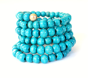 Turquoise Wood Beaded Bracelet