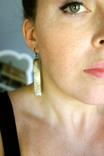 Gold leather rectangle earrings