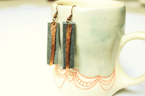 Gray Leather and Copper Earrings