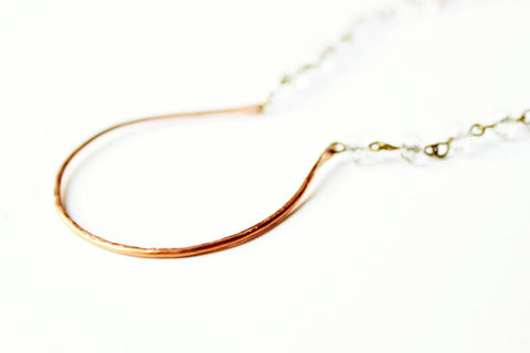 Copper Curve and Crystal Necklace
