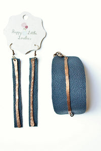 Navy Leather and Copper Bracelet and Earrings Set