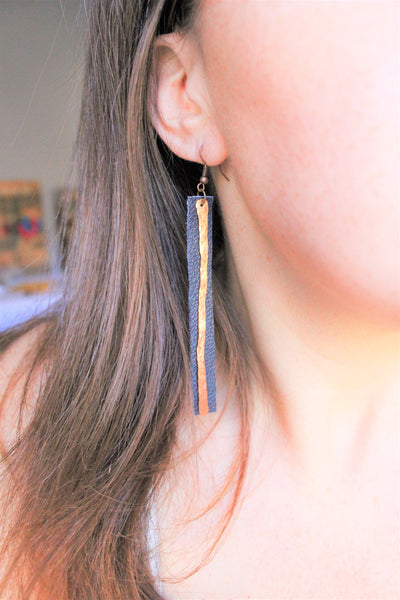Navy Leather and Copper Earrings