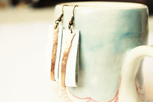 White Leather and Copper Earrings