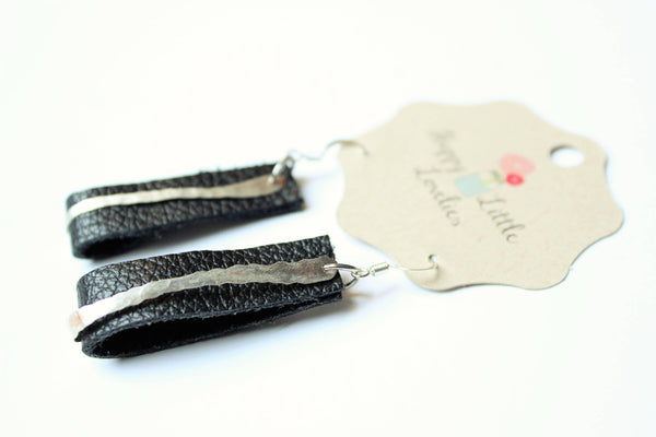 Black leather and silver earrings