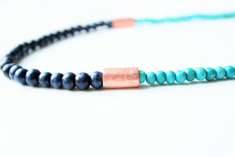 Navy Wood and Copper Necklace