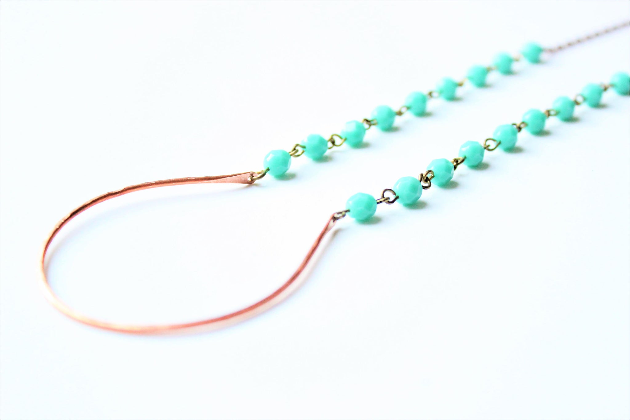 Copper Curve and Turquoise Necklace