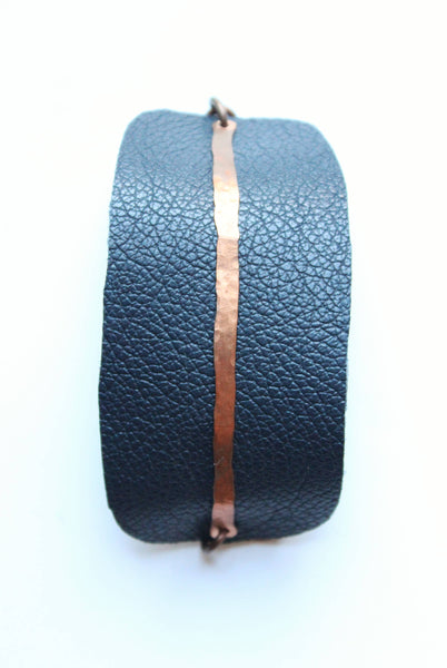 Navy Leather and Copper Bracelet