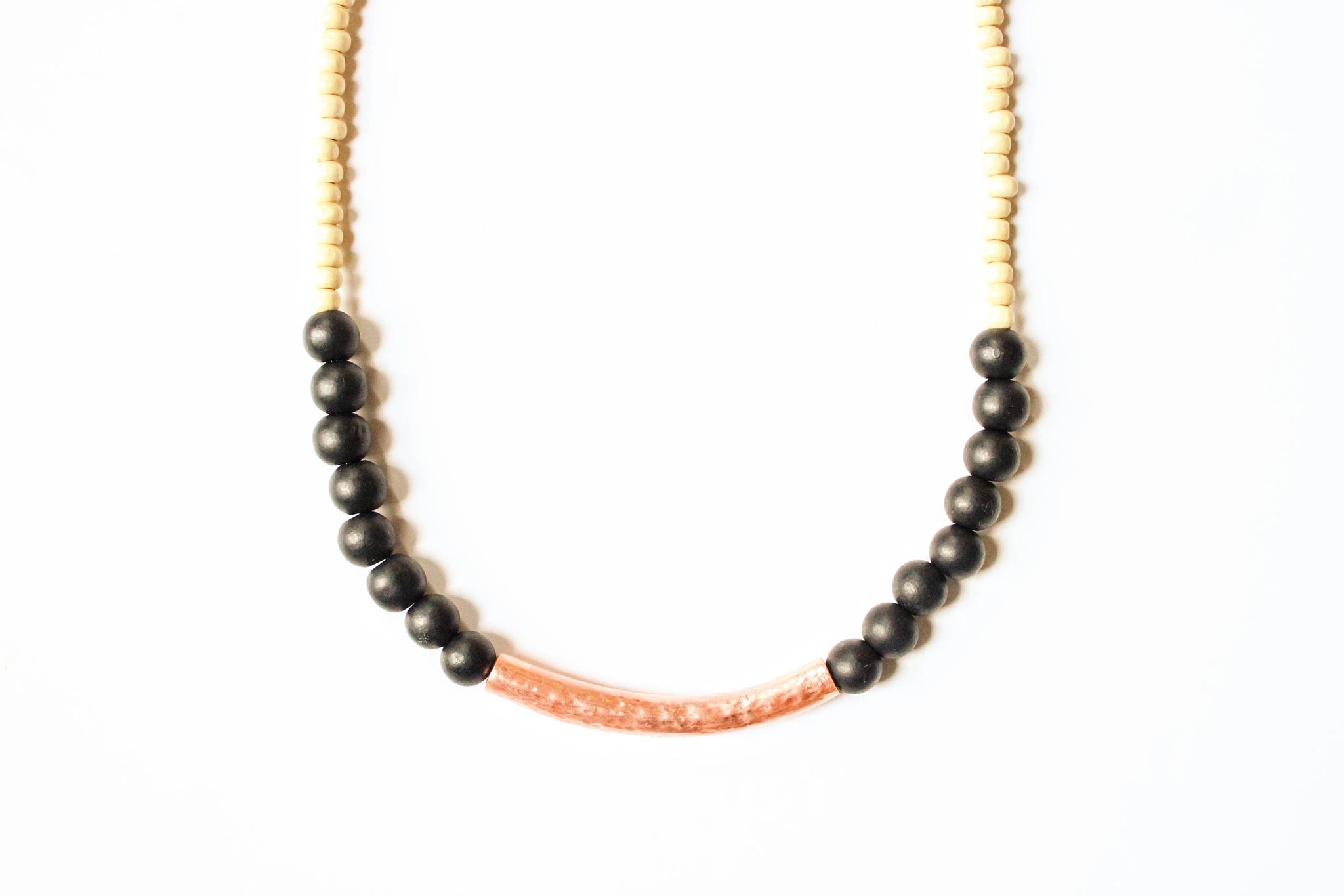Black and Copper Wood Necklace