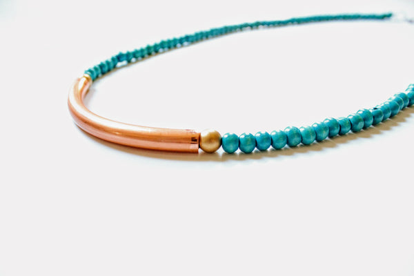 Turquoise and Copper Tube Necklace