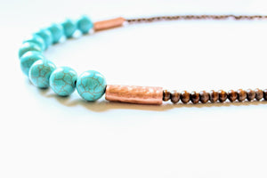 Turquoise and Copper Wood Necklace