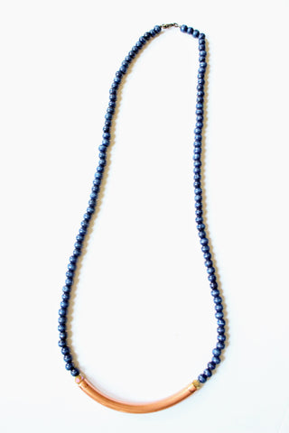 Navy and Copper Wood Necklace