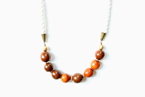 Tagua Nut and Rope Statement Necklace