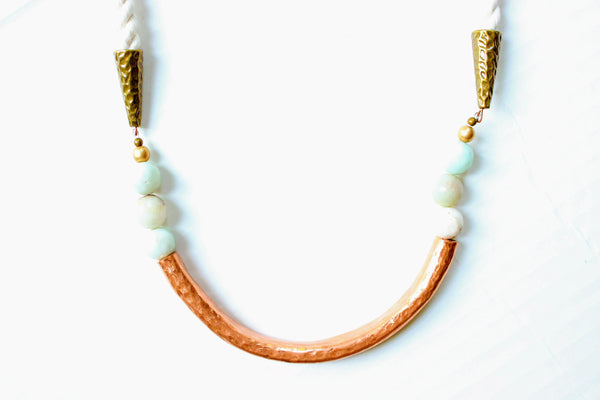 Copper, Amazonite and Rope Statement Necklace