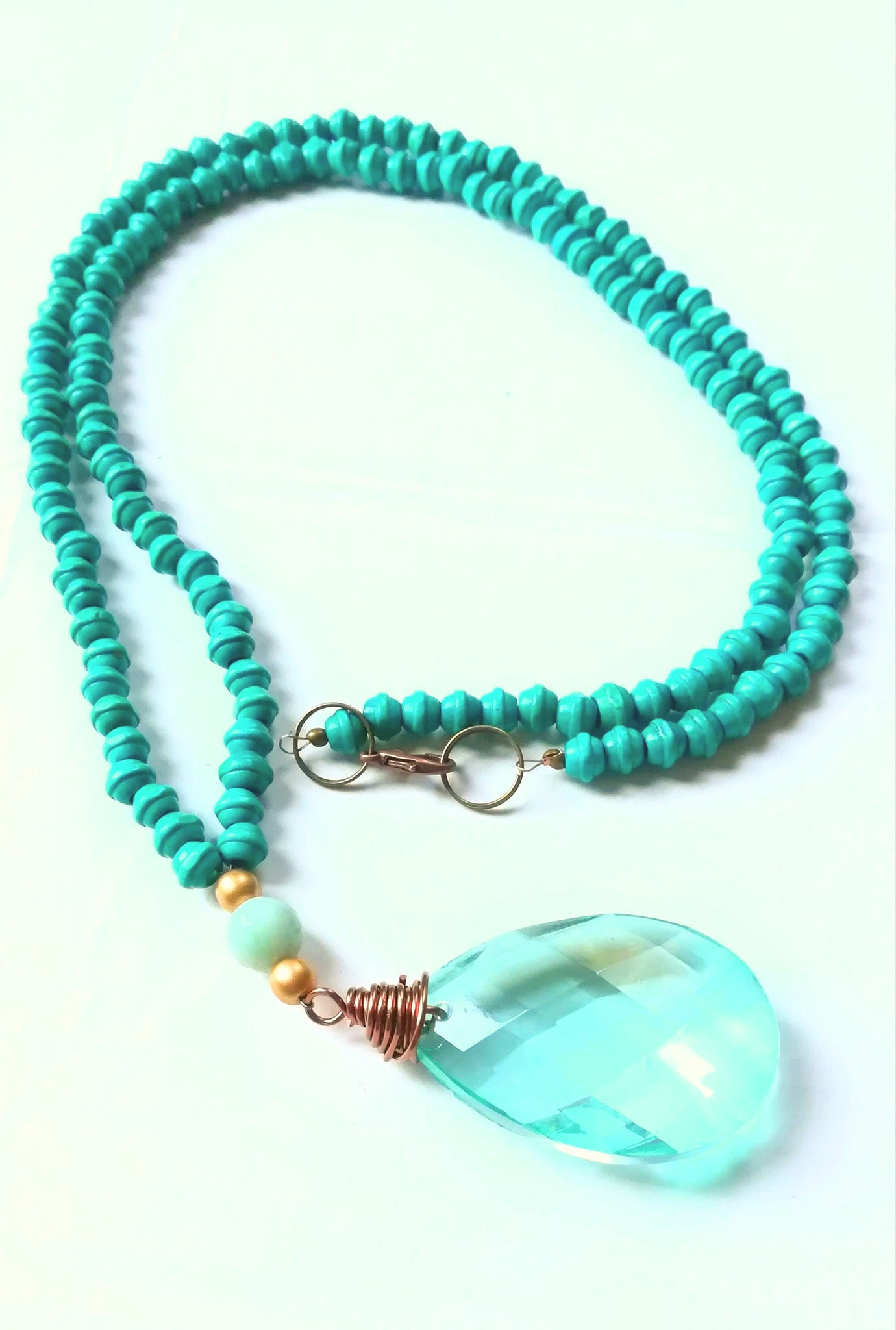 Aqua Crystal and Wood Necklace