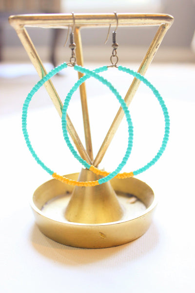 Turquoise and Yellow Beaded Hoop Earrings