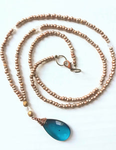Blue Crystal and Gold Necklace