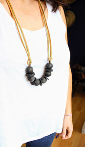 Beaded clay statement necklace