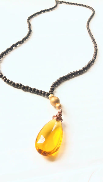 Mustard crystal and wood statement necklace