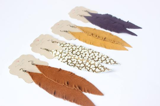 Large Leather Feather Earrings (Pick Your Color!)