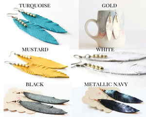 Small Leather Feather Earrings (Pick Your Color!)