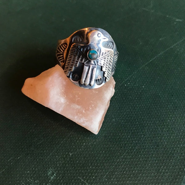 Cigar Band Ring w. Stone