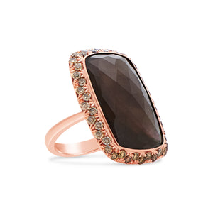 Signature 18k Smoky Quartz Mother Of Pearl Ring With Brown Diamonds