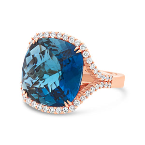 Signature 18k Rose Gold Ring With Topaz And Diamonds
