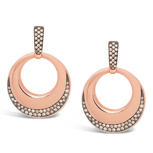Signature 18k Rose Gold Door Knocker Earrings With Champagne Diamonds