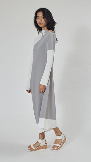 Issey Miyake 132.5 Flat Rib Knit 2 Dress in Gray and White